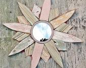 Starburst Mirror, Decorative Mirror, Coastal Decor, Wood Wall Art, Reclaimed Wood Mirror, Beach House Art, Star burst Mirror,