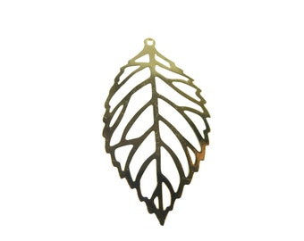 Gold Plated Laser Cut Leaf Charms (6x) (K617-C)
