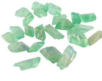 Mint Green Aura Coated Rough Quartz Beads (8x) (NS844)
