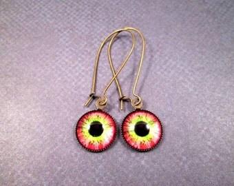 Eye See You, Eyeball Earrings, Pink Green and Black, Brass Dangle Earrings, FREE Shipping U.S.