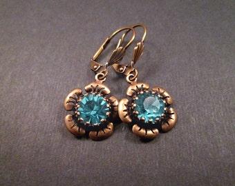 Rhinestone Flower Earrings, Blue Glass Stones and Brass Dangle Earrings, FREE Shipping U.S.
