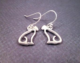 Cat Earrings, On Little Cat Feet, Sterling Silver Dangle Earrings, FREE Shipping U.S.