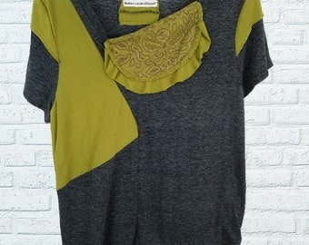 2x Coloblock Shirt Top Blouse XXL Plus Size Eco Friendly Recycled Clothing Charcoal Olive Earthy
