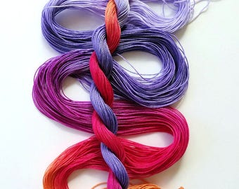 "Size 20 ""Corsage"" hand dyed thread 6 cord cordonnet tatting crochet cotton"