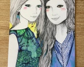 MOVING SALE Portrait of two best friends sisters or twins with a yellow background - small print