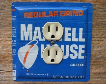 Antique Maxwell House Coffee Tin Cans Lighting Outlet Cover Plate For Vintage Farmhouse Kitchen Decor OLC-1016