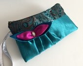 Peacock Brocade Teal Satin Bridesmaids Ruffled Wristlets with Brooch