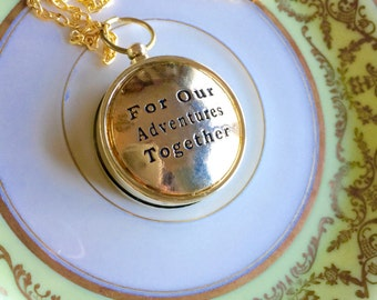 For Our Adventures Together Necklace, Working Compass Necklace, Gift for Her, Couple Gift, Boyfriend Gift, Girlfriend Gift, Wedding Gift
