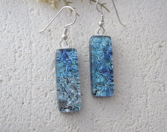 Slim Blue Silver Earrings, Dichroic Earrings, Earrings, Dichroic Jewelry, Dichroic Glass Jewelry, Dangle Drop Earrings,Sterling, 032017e100
