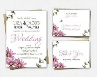 Wedding Invitation Suite, Rustic Flowers, Floral Wedding Invitations, Rustic Wedding Invitation Set, RSVP, Thank You, Wedding Invitation Set