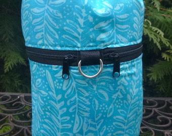 Batik knitting bag, drawstring bag, knitting in public bag, Blue Fern Batik, small project bag, Kipster