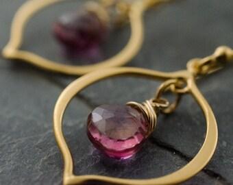 Pink Topaz Earring. Faceted Topaz Gemstone. Marrakesh Chandelier Earrings. 14k Gold Vermeil. Pink Topaz Briolette. Gemstone Jewelry.