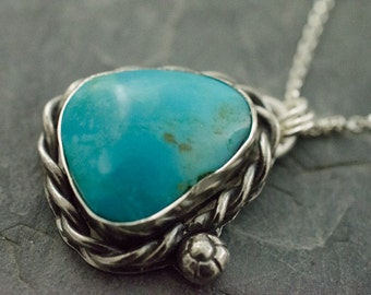 Turquoise Pendant. Turquoise Necklace. Silver Turquoise Necklace. December Birthstone. Gemstone Pendant. Birthstone Jewelry.