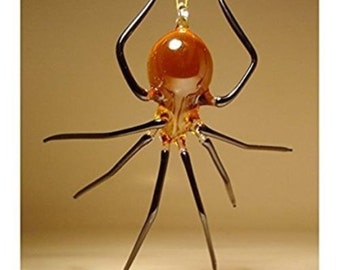 Blown Glass Figurine Art Insect Honey and Black Hanging SPIDER Ornament