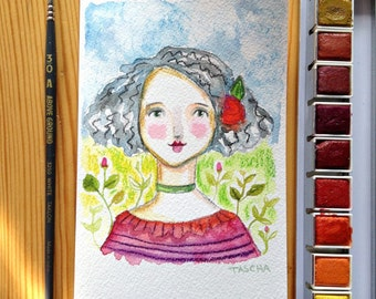 Original Watercolor painting ROSE portrait painting 4x6 by Tascha