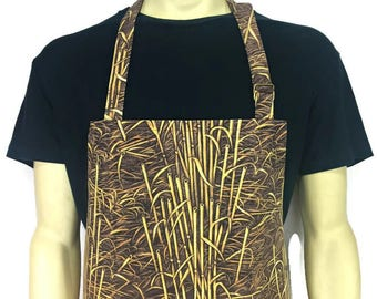 Farmland Camouflage Apron for Men , Adjustable with 2 pockets , Camo Apron , Cabin Kitchen or Farm Decor / Reeds / Duck Hunting