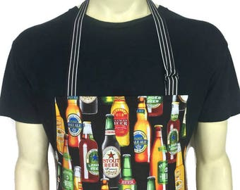 Beer Bottle Apron , Professional Chef Apron , Brewery / Kitchen Decor / Home Brewer / Colorful Bottles