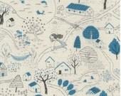 Japanese Fabric Kokka Trefle Alice double gauze - blue, cream - 50cm
