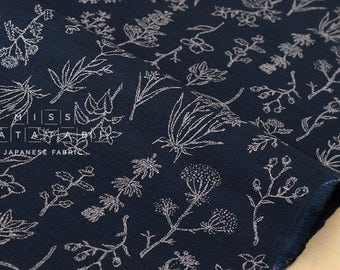 Japanese Fabric Kokka Trefle Natural Life - dark indigo - 50cm