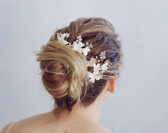 Bridal clay flower pins - Cherry blossom hair pin and comb set - Style 768 - Made to Order