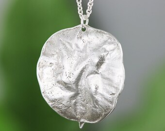 Sterling SIlver Money Tree Leaf Pendant - Botanical Leaf Necklace - Good Luck Gift - Gift for Her Under 100 - Natural Leaf - READY TO SHIP