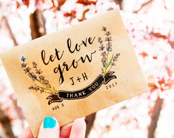 Lavender Seed Wedding Favor Packets - Personalized - Let Love Grow Seed Pack with Seeds included - Plantable Guest Gift - 30 Packets or more