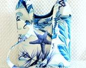 Turquoise Blue and White Purse, Handmade Beach Fabric Purse, Cruise Wear