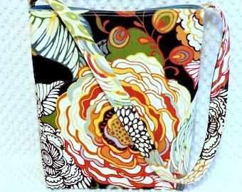 Floral Hobo Bag Shoulder Sling Purse Handmade Fabric Handbag