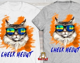 CHECK MEOWT Cat T-shirt. Cool Cat in Sunglasses cat tshirt.  Cat lady shirt.  Gift for Cat Lover. Maine Coon Tshirt