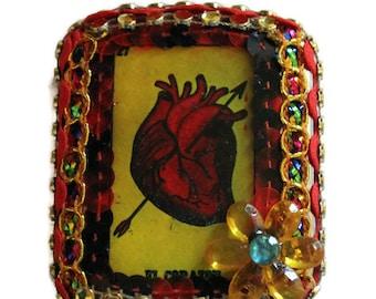Mexican Loteria Tin, El Corazon Loteria, Valentine Tin, Mexican Wedding Favor, Anatomical Heart, Quinceañera Favors, Tin Nicho, Mexican Tin