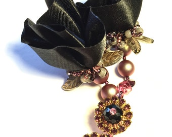 Reserved for Joanne,black satin rosesette Clip earring by Monikque Couture Jewellery