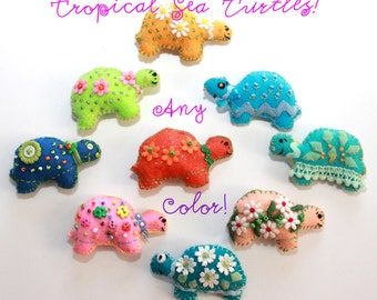 Tropical Sea Turtle Magnets - In Any Color Combo - Set of three - OOAK, Party Favor, Novelty