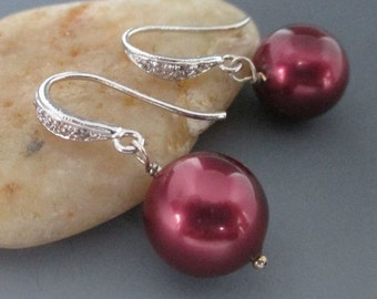 Burgundy Red Pearl CZ Sterling Silver Earrings