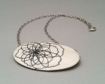 Peony Flower Porcelain Jewelry Pendant Necklace, Ceramic Jewelry, Porcelain Jewelry, Black and White Necklace