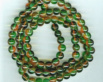 CLEARANCE 8mm Green and Orange Two Color Glass Round Beads Long Strand