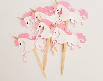 CLEARANCE Unicorn Cupcake Toppers Food Picks, Unicorn Cupcake PIcks, Unicorn Party Decor