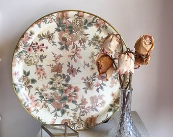 Cute Vintage 50s 60s Round Floral Shabby Chic Vanity Tray