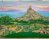 Original Landscape painting Desert Golf course on canvas 48x36