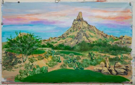 Original Landscape painting Desert Golf course on canvas 48x36