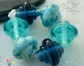 Lampwork Glass Beads Blue Hawaii Spinners ... set or pair