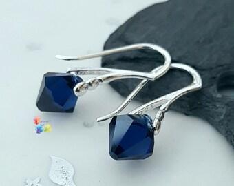 Swarovski Crystal Earrings, Dark Indigo, Sterling Silver, Gift for her, wife, girlfriend, fiancee, sister, Prism, Blue, Navy
