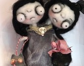 Sidney and Sara the Siamese twins Ooak art doll