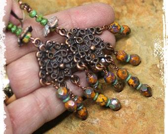 Gypsy earrings for women, Tribal statement earrings chandelier, Gypsy chandelier earrings for women, Czech glass bead earrings