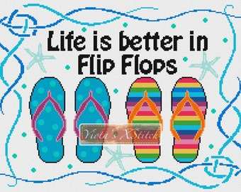 Life is better in flip flops - summer counted cross stitch kit