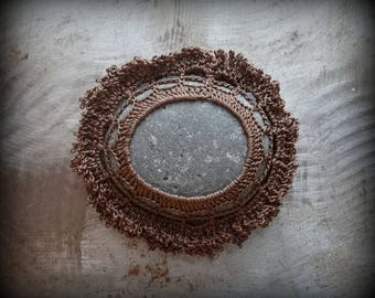 Crocheted Lace Stone, Fringe, Handmade, Original, Dark Mocha Brown, Speckled Gray Stone, Table Decoration, Monicaj