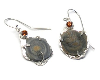 Druzy Earrings, Chacedoney Rose, Rough Stone Earrings, Raw Stones, Hess Garnet,
