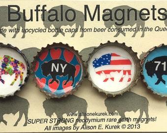 716 Buffalo Magnets - Buffalo Art - Bottle Cap Magnets - Gift Set of 4 -  Buffalo NY - Buffalove - Buffalo Gift - Buffalo Bills Colors