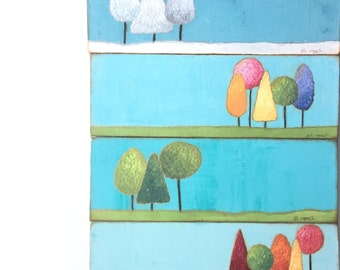 Four seasons. Landscape art. Winter Spring Summer Fall. original mixed media on canvas  Original painting wall decor