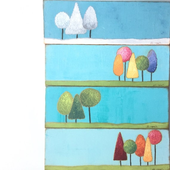 Four seasons. Landscape art. Winter Spring Summer Fall. original mixed media on canvas  Original painting wall decor