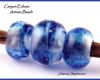 BIG HOLE Starry Night Lampwork Bead Set by Canyon Echoes